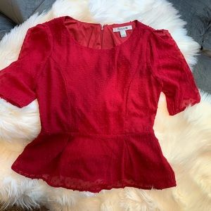 Forever 21 NWT Peplum red Swiss dot top sz small